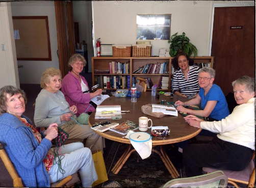 Knitting Circle in the Wicker Room at All Saints
