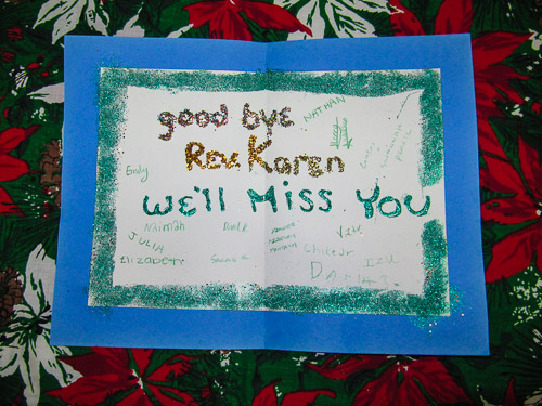 goodbye card from children and youth  all saints